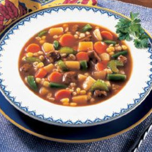 Vegetable beef with barley soup